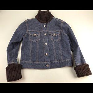 THEORY Jean Jacket Sweater Collar Cuffs Knit L